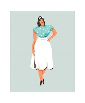 Hand gezeichnete abstrakte moderne karikatur-kochzeit-spaßillustrationsikone mit kochkochfrau in weißer schürze hält löffel lokalisiert auf weißem hintergrund