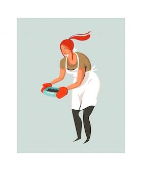 Hand gezeichnete abstrakte moderne karikatur-kochzeitillustrationsikone mit kochkochfrau in der weißen schürze, die das essen lokalisiert auf weißem hintergrund bereitstellt