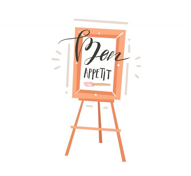 Hand gezeichnete abstrakte moderne karikaturkochkonzeptillustrationsplakatkarte mit restaurantstaffelei und handgeschriebener kalligraphie bon appetit auf weißem hintergrund
