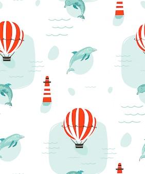 Hand gezeichnete abstrakte niedliche sommerzeitkarikaturillustrationen nahtloses muster mit delfinen