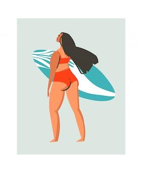 Hand gezeichnete abstrakte niedliche sommerzeitstrandsurfer-mädchenillustration mit roter badebekleidung und surfbrett auf blauem hintergrund.