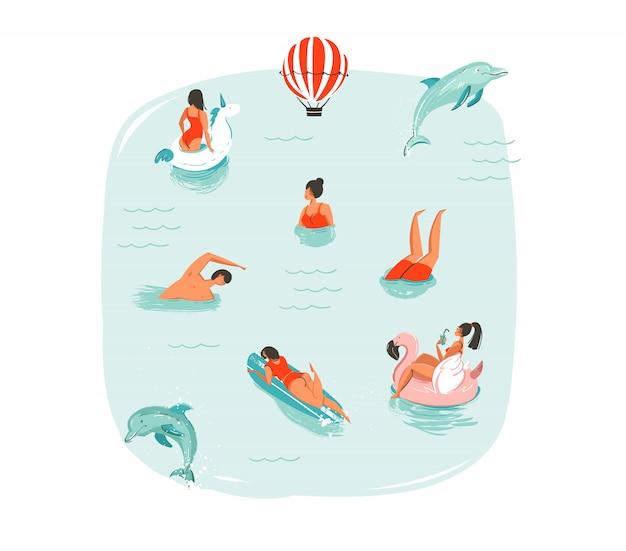 Hand gezeichnete abstrakte sommerzeit-spaßillustration mit schwimmenden glücklichen menschen mit springenden delfinen, heißluftballon, einhorn und rosa flamingobojen schwimmt auf blauem wasserhintergrund