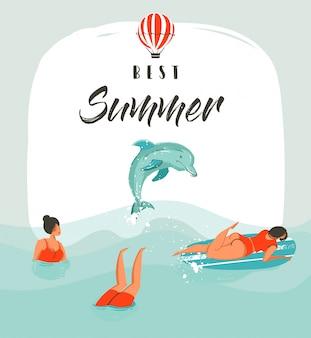 Hand gezeichnete abstrakte sommerzeit-spaßillustrationskartenschablone mit schwimmenden glücklichen menschen in den meereswellen mit springendem delphin und modernem typografiephasenbester sommer