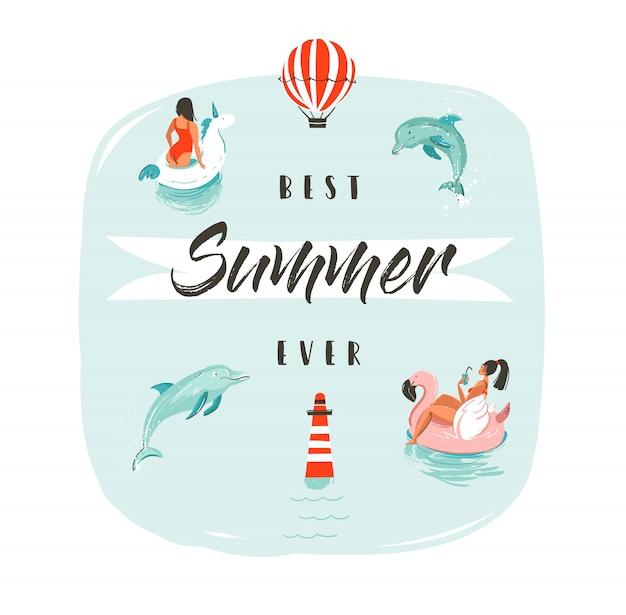 Hand gezeichnete abstrakte sommerzeitspaßillustration mit schwimmenden glücklichen menschen im wasser mit springenden delfinen und modernster typografiephase bester sommer aller zeiten.