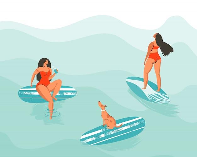 Hand gezeichnete abstrakte sommerzeitspaßkarikaturillustrationsplakat mit den schwimmenden mädchen des surfers im roten bikini mit hund lokalisiert auf blauen ozeanwellen