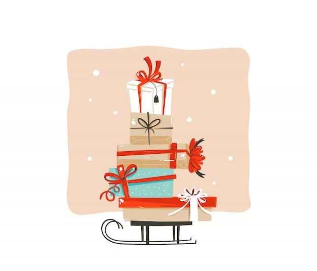 Hand gezeichnete abstrakte spaß frohe weihnachten einkaufszeit cartoon gruß illustration karte mit vielen bunten überraschung geschenkboxen auf schlitten auf weißem hintergrund.