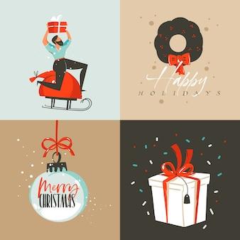 Hand gezeichnete abstrakte spaß frohe weihnachten und frohes neues jahr zeit cartoon illustration grußkarte mit weihnachten überraschung geschenkboxen, junge und frohe weihnachten text lokalisiert auf farbigem hintergrund