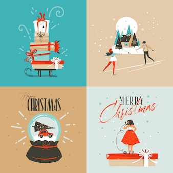 Hand gezeichnete abstrakte spaß frohe weihnachten und frohes neues jahr zeit cartoon illustration grußkarte mit weihnachten überraschung geschenkboxen, mädchen und frohe weihnachten text lokalisiert auf farbigem hintergrund