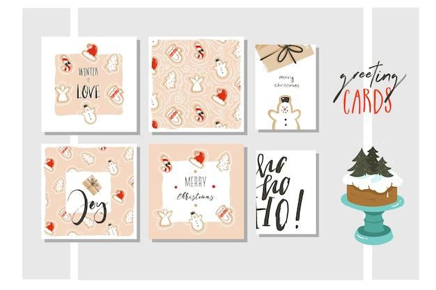 Hand gezeichnete abstrakte spaß frohe weihnachten und frohes neues jahr zeit cartoon illustration grußkarten sammlung set isoliert auf farbigem hintergrund.