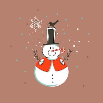 Hand gezeichnete abstrakte spaß frohe weihnachten und glückliches neues jahr zeit cartoon illustration grußkarte mit weihnachten schneemann und konfetti auf braunem hintergrund.