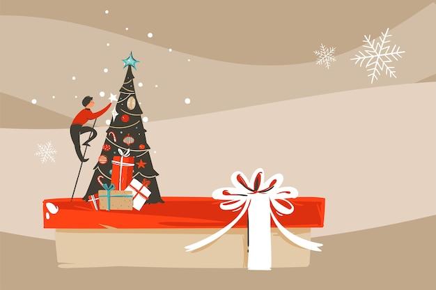 Hand gezeichnete abstrakte spaß frohe weihnachten und glückliches neues jahr zeit cartoon illustration grußkarte mit weihnachtsbaum auf handwerk hintergrund.