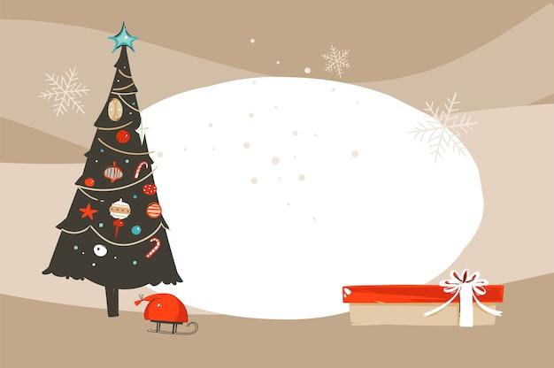 Hand gezeichnete abstrakte spaß frohe weihnachten und glückliches neues jahr zeit cartoon illustration grußkarte mit weihnachtsbaum spielzeug auf handwerk hintergrund.