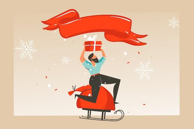 Hand gezeichnete abstrakte spaß frohe weihnachten zeit cartoon illustration grußkarte mit glücklichen weihnachtsmarkt menschen, geschenke und kopie raum platz für ihren text auf handwerk hintergrund.