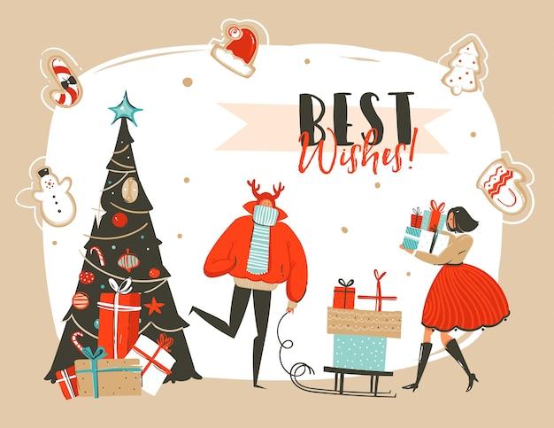 Hand gezeichnete abstrakte spaß frohe weihnachten zeit cartoon illustration grußkarte mit gruppe von menschen, überraschung geschenkboxen, weihnachtsbaum und weihnachten kalligraphie lokalisiert auf handwerk hintergrund.