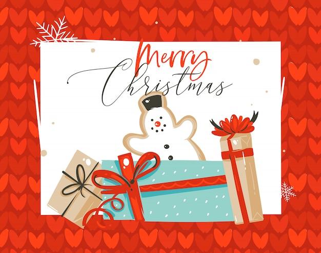 Hand gezeichnete abstrakte spaß frohe weihnachten zeit cartoon illustration grußkarte mit schneemann lebkuchen keks und überraschung geschenkboxen auf rot gestricktem hintergrund.