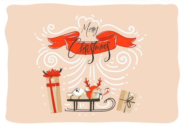 Hand gezeichnete abstrakte spaß frohe weihnachten zeit cartoon illustration karte design mit überraschung geschenkboxen, haustier hund auf schlitten, rotes band und moderne weihnachten kalligraphie lokalisiert auf handwerk hintergrund