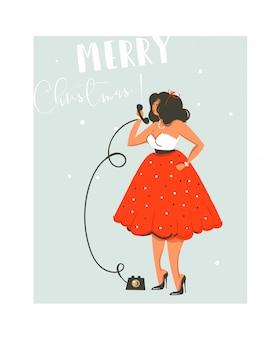Hand gezeichnete abstrakte spaß frohe weihnachten zeit cartoon illustration karte mit hübschen mädchen im kleid, die am telefon auf blauem hintergrund sprechen.