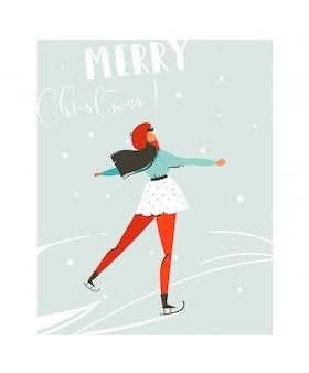 Hand gezeichnete abstrakte spaß frohe weihnachten zeit cartoon illustration karte mit jungen mädchen skaten auf eis auf blauem hintergrund.