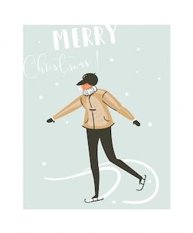 Hand gezeichnete abstrakte spaß frohe weihnachten zeit cartoon illustration karte mit jungen skaten auf eis auf blauem hintergrund.
