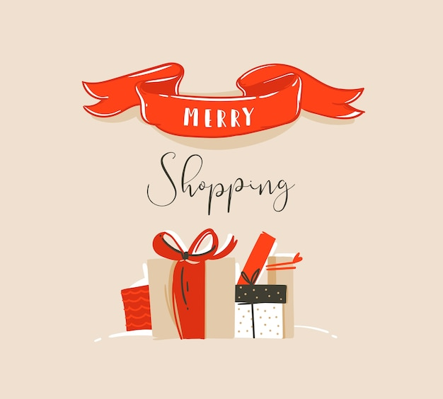 Hand gezeichnete abstrakte spaß frohe weihnachten zeit cartoon illustration karte mit weihnachtsüberraschung geschenkboxen und moderne typografie zitat marry shopping isoliert auf bastelpapier hintergrund.