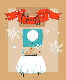Hand gezeichnete abstrakte spaß frohe weihnachten zeit cartoon illustration karte vorlage mit weihnachtsessen auf tisch und mond im fenster lokalisiert auf bastelpapier hintergrund.