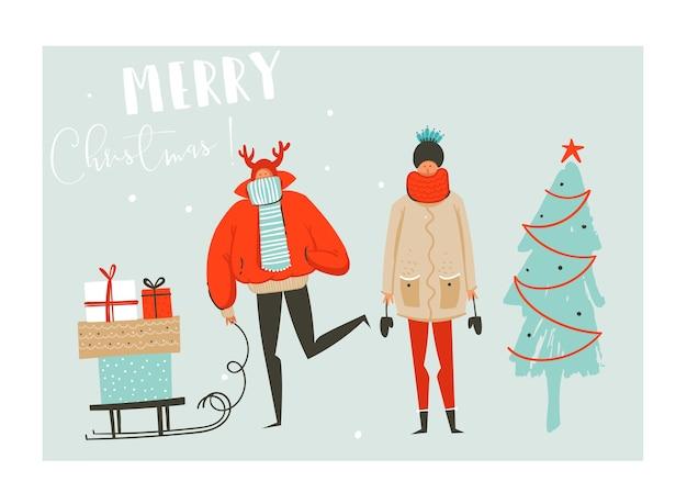 Hand gezeichnete abstrakte spaß frohe weihnachten zeit cartoon illustration mit gruppe von menschen in winterkleidung, viele überraschung geschenkboxen auf schlitten und weihnachtsbaum auf blauem hintergrund isoliert.