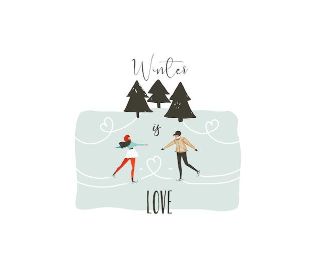 Hand gezeichnete abstrakte spaß frohe weihnachten zeit cartoon illustration mit jungen paar, die in gefrorenem wald und weihnachten moderne kalligraphie winter skaten, ist liebe isoliert auf weißem hintergrund.