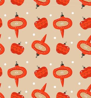Hand gezeichnete abstrakte spaß frohe weihnachten zeit cartoon illustration nahtlose muster mit vintage retro weihnachtsbaum spielzeug auf bastelpapier hintergrund.