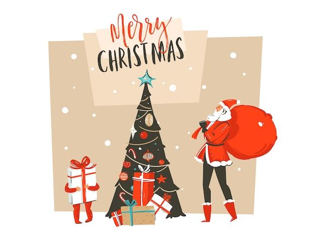 Hand gezeichnete abstrakte spaß frohe weihnachten zeit cartoon illustration
