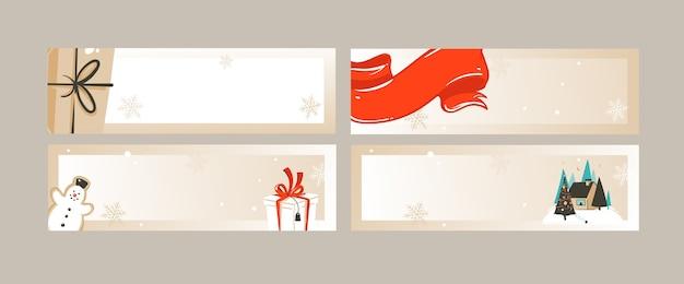 Hand gezeichnete abstrakte spaß frohe weihnachten zeit cartoon illustrationen grußkarten und banner sammlung set isoliert auf handwerk hintergrund.