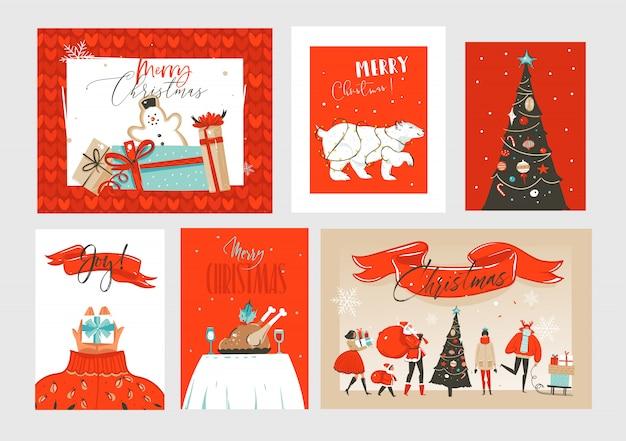 Hand gezeichnete abstrakte spaß frohe weihnachten zeit cartoon illustrationen grußkarten und hintergründe sammlung mit geschenkboxen, weihnachtsbaum und kalligraphie auf handwerk hintergrund gesetzt.