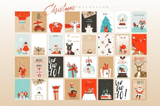 Hand gezeichnete abstrakte spaß frohe weihnachten zeit cartoon illustrationen grußkarten vorlage und hintergründe große sammlung mit geschenkboxen, menschen und weihnachtsbaum lokalisiert auf weißem hintergrund