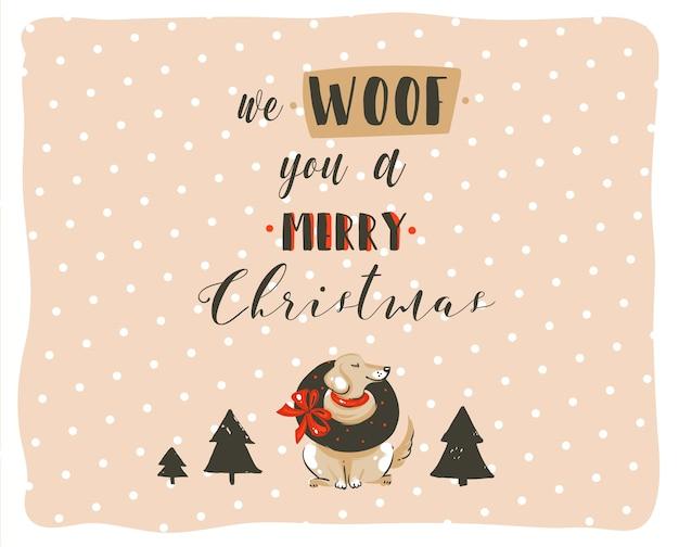 Hand gezeichnete abstrakte spaß frohe weihnachten zeit cartoon illustrationen poster mit weihnachtshunden und modernen handgeschriebenen kalligraphie text wir woof sie eine frohe weihnachten isoliert auf pastell hintergrund.