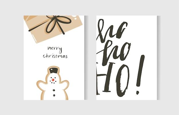 Hand gezeichnete abstrakte spaß frohe weihnachten zeit cartoon karten sammlung mit niedlichen illustrationen, überraschung geschenkbox, schneemann und handgeschriebenen modernen kalligraphie text lokalisiert auf weißem hintergrund.