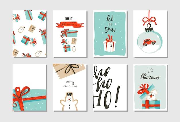 Hand gezeichnete abstrakte spaß frohe weihnachten zeit cartoon karten sammlung set