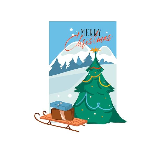 Hand gezeichnete abstrakte spaß frohe weihnachten