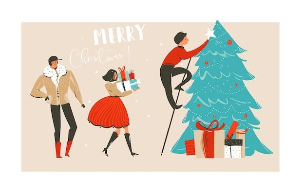 Hand gezeichnete abstrakte spaß frohe weihnachtszeit illustration grußkarte mit gruppe von menschen, viele überraschungsgeschenkboxen und weihnachtsbaum isoliert auf bastelpapier hintergrund.