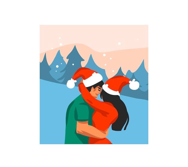 Hand gezeichnete abstrakte spaßlager frohe weihnachten