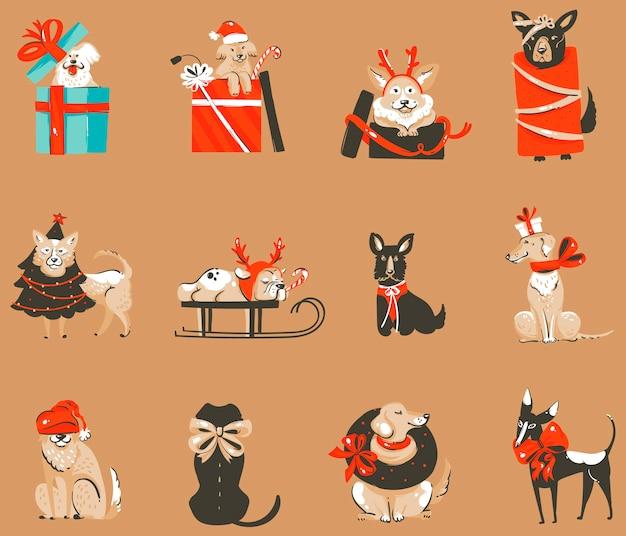 Hand gezeichnete abstrakte spaßlagerwohnung frohe weihnachten