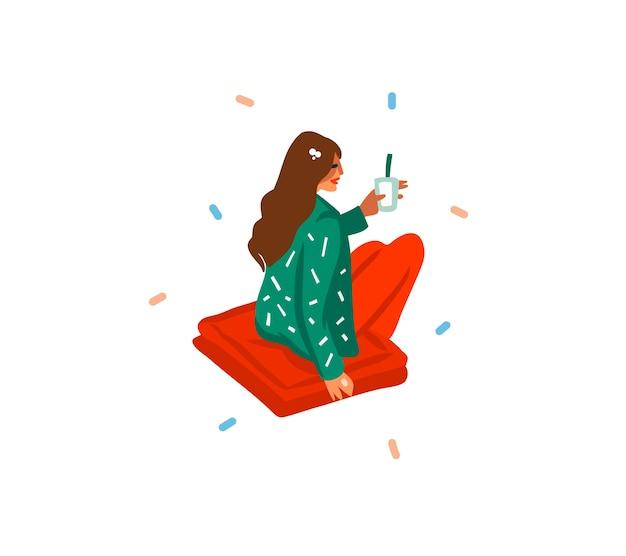 Hand gezeichnete abstrakte spaßvorrat flach flache frohe weihnachten und glückliche neujahrskarikatur festliche karte mit niedlichen illustrationen des mädchens trinkt feiertagsweihnachtscocktails lokalisiert auf weißem hintergrund.
