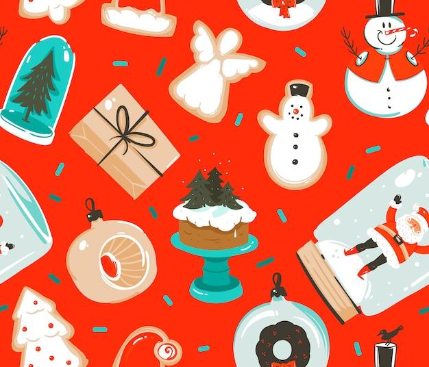 Hand gezeichnete abstrakte spaßvorrat flache frohe weihnachten und festliches nahtloses muster der karikatur des glücklichen neuen jahres mit niedlichen illustrationen von retro-vintage-spielzeugen der weihnachten, die auf farbhintergrund lokalisiert werden.