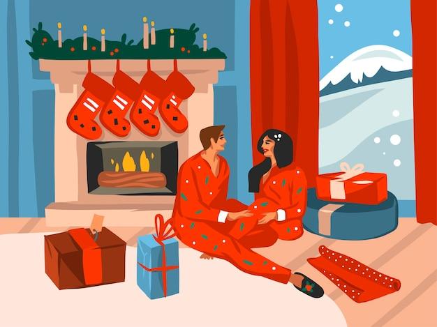 Hand gezeichnete abstrakte spaßvorrat flache frohe weihnachten und glückliche neujahrskarikatur festliche karte mit niedlichen illustrationen des glücklichen weihnachtspaares zu hause zusammen lokalisiert auf farbhintergrund.