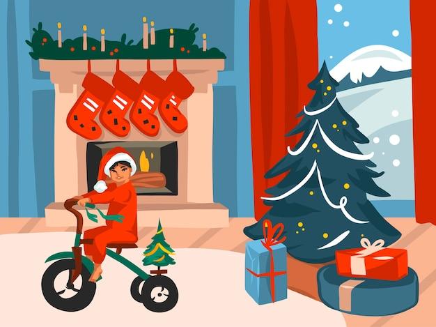 Hand gezeichnete abstrakte spaßvorrat flache frohe weihnachten und glückliche neujahrskarikatur festliche karte mit niedlichen illustrationen des weihnachtsbabys zu hause lokalisiert auf farbhintergrund.