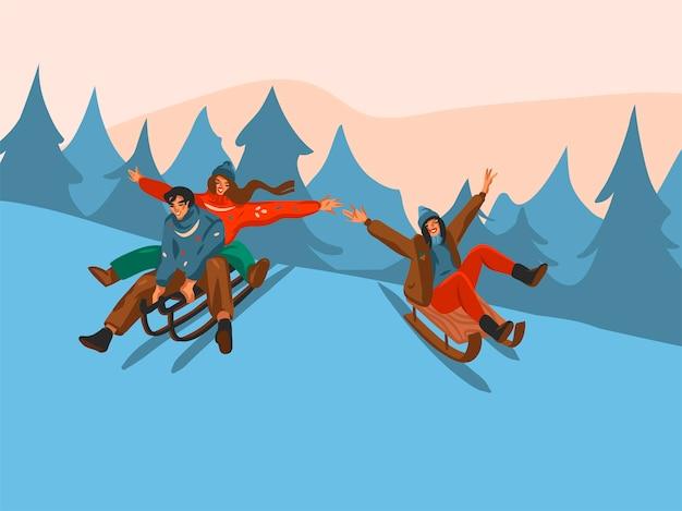 Hand gezeichnete abstrakte spaßvorrat flache frohe weihnachten und glückliche neujahrszeitkarikatur festliche karte mit niedlichen illustrationen des weihnachtspaares, das zusammen auf winterlandschaftshintergrund zusammenrodelt.