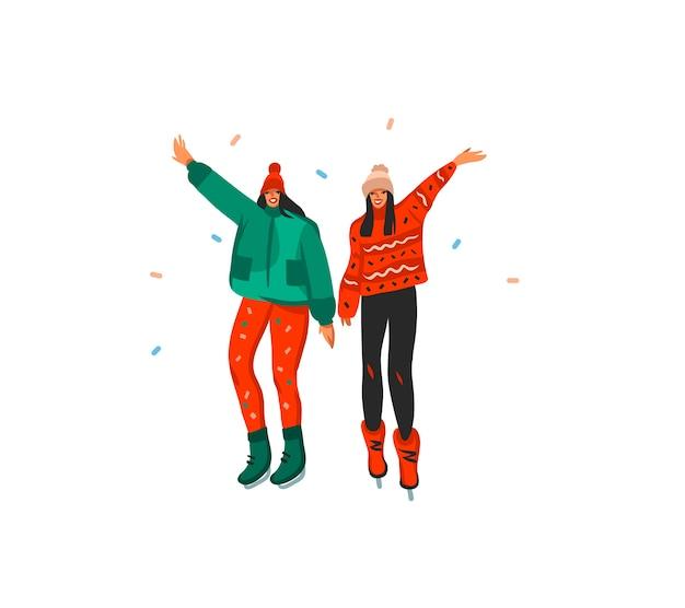 Hand gezeichnete abstrakte spaßvorrat flache frohe weihnachten und glückliche neujahrszeitkarikatur festliche karte mit niedlichen illustrationen von weihnachtsfreundinnen zusammen lokalisiert auf weißem hintergrund.