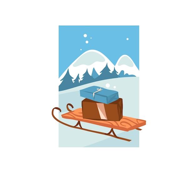 Hand gezeichnete abstrakte spaßvorrat flache frohe weihnachten und glückliche neujahrszeitkarikaturfestkarte mit niedlichen illustrationen des weihnachtsschlittens und präsentiert kastengeschenke lokalisiert auf weißem hintergrund.