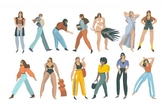 Hand gezeichnete abstrakte stock grafik sommerzeit illustrationen sammlung set bundle mit jungen lächelnden verschiedenen frauen auf weißem hintergrund