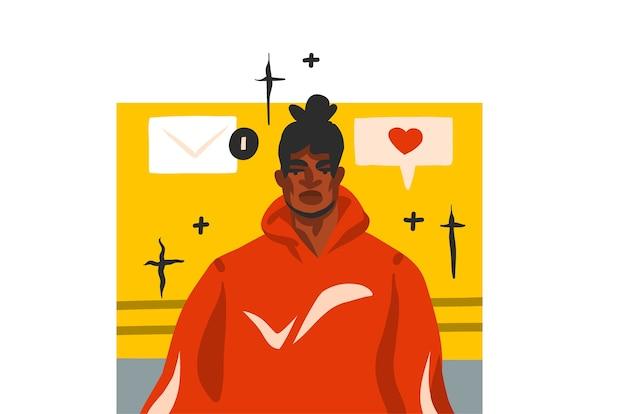 Hand gezeichnete abstrakte stock grafische illustration mit jungen glücklichen afroamerikanermann portrat, im mode-outfit und in der sozialen medienkommunikation specch blase chat lokalisiert auf weißem hintergrund.