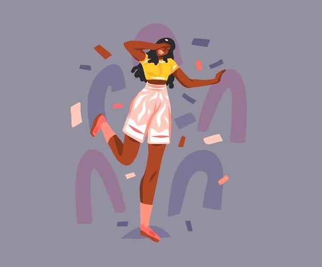 Hand gezeichnete abstrakte stock grafische illustration mit jungen glücklichen lächelnden teenager-schönheitsfrau auf pastellcollageformhintergrund.