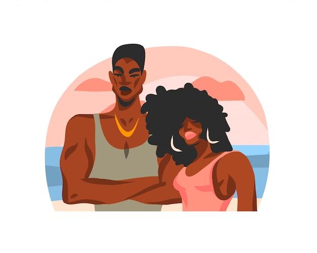Hand gezeichnete abstrakte stock grafische illustration mit jungen glücklichen schönheitsstudentenpaar auf strandszene auf weißem hintergrund
